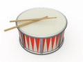 Isolated drum and two drumstick d Royalty Free Stock Photo