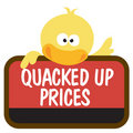 Isolated duck holding sign Stock Photography