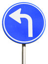 Isolated dutch blue road sign pointing left Stock Photos
