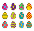 Isolated eggs vector set in paper cut style for banner, spring card or background design.Easter colorful design elements
