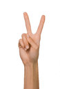 Isolated Empty open woman female hand in position of Peace Sign and Number Two on a white background Royalty Free Stock Photo