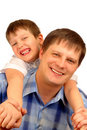 Isolated father and son Stock Image