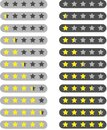 Isolated five Stars rating tag. Customer feedback  template. Two light grey and dark grey background with bright yellow star Royalty Free Stock Photo