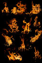 Isolated flames set Royalty Free Stock Photo