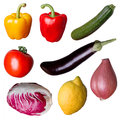 Isolated fresh vegetables over a white background Royalty Free Stock Images