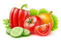 Isolated fresh vegetables various on white with clipping path Royalty Free Stock Photo