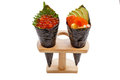 Isolated Fried Shirauo and Tempura California or Temaki Sushi Hand Roll on Wood Stand Royalty Free Stock Photo