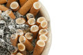 Isolated of full cigarette ashtray Royalty Free Stock Photo