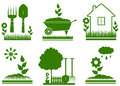 Isolated garden landscaping symbols set green Stock Photos