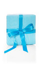 Isolated giftbox with blue striped wrapping paper for anniversary or christmas Stock Images