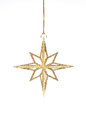 Isolated golden glitter christmas decoration hanging Royalty Free Stock Image
