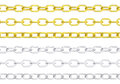 Gold and silver chains isolated Royalty Free Stock Photo