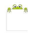 Isolated green frog with white paper. Has place for any text. Can use for note or blank. Royalty Free Stock Photo