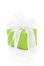 Isolated green giftbox tied with white ribbon Royalty Free Stock Photo