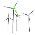 Isolated green wind power energy silhouettes Royalty Free Stock Images