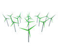 Isolated green windmill generators field illustrations Stock Photo