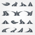 Isolated grey color road or highway with dividing markings on white background vector illustrations set. Royalty Free Stock Photo