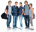 Isolated group of teenage students Stock Photo