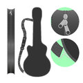 Isolated guitar case illustration plain bag with shoulder strap changeable illustrations with different views on white background Stock Images