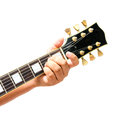 Isolated the guitarist show the a major chord on white background Stock Photo