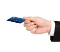 Isolated hand of a businessman holding a credit card Royalty Free Stock Photo