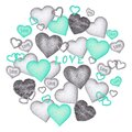 Isolated Hand drawn Pencil drawing different black and white and turquoise hearts