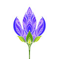 Isolated hand drawn white outline colored, coloured of violet, purple and green color ornate flower on white background. Ornament Royalty Free Stock Photo