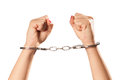 Isolated handcuffs hands photo of female hand with she rises and makes fist Stock Image