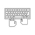 Isolated hands over keyboard device design Royalty Free Stock Photo