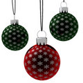 Isolated Hanging Red and Green Christmas Ornaments Royalty Free Stock Image