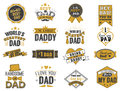 Isolated Happy fathers day quotes on the white background. Dad congratulation gold and black label, badge vector