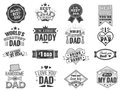 Isolated Happy fathers day quotes on the white background. Dad congratulation label, badge vector collection. Mustache