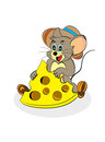 Isolated happy mouse and cheese Royalty Free Stock Image
