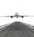 Isolated highway with airplane flight illustration Royalty Free Stock Images