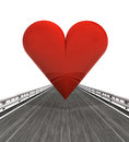 Isolated highway with red heart illustration Stock Photography