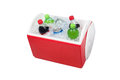 Isolated ice chest cooler filled ice soft drinks such as water soda Stock Photos