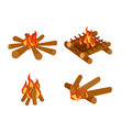 Isolated illustration of campfire logs burning bonfire and firewood stack vector Royalty Free Stock Photo