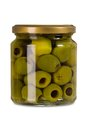 Isolated jar of olives photo a over white background clipping path included Royalty Free Stock Image