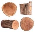 Isolated Log Set Royalty Free Stock Photo