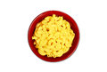Isolated macaroni and cheese in red bowl Stock Image
