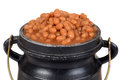 Isolated macro baked beans old pot Royalty Free Stock Photos