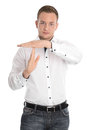 Isolated man making timeout sign with hands young Royalty Free Stock Images