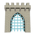 Isolated medieval closed gate vector illustration Royalty Free Stock Photography