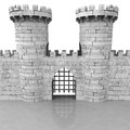 Isolated medieval stoned castle gate with towers illustration Stock Image