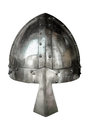 Isolated medieval viking helmet style suite of armour with nose protector on white background Royalty Free Stock Images