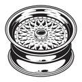 Isolated monochrome illustration of car wheel rim Royalty Free Stock Photo