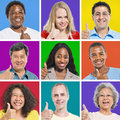 Isolated multi ethnic people thumbs up and smiling Royalty Free Stock Photos