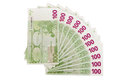 The isolated notes of euro fan it s a lot of banknotes currency on white background Stock Images