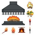 Isolated object of fire and flame sign. Set of fire and fireball vector icon for stock. Royalty Free Stock Photo