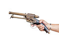 Isolated old vintage gun in male hand